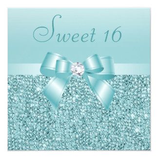 Teal Sequins, Bow & Diamond Sweet 16 5.25x5.25 Square Paper Invitation Card