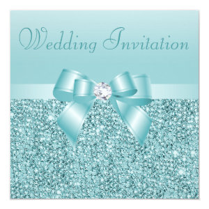 Teal Sequins, Bow & Diamond Wedding 5.25x5.25 Square Paper Invitation Card