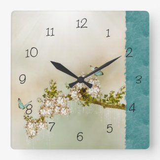 Teal Serene Butterfly Numbered Wall Clock