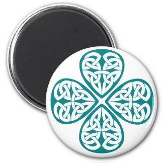 Teal Shamrock Celtic Knot Magnet