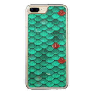 Teal Shimmer and Ruby Fish Scales Pattern Carved iPhone 7 Plus Case