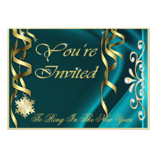 Teal Shimmering Soiree New Years Eve Invitation