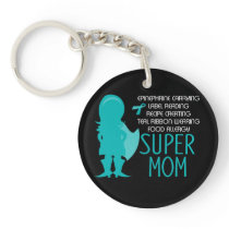 Teal Silhouette Food Allergy Super Mom Keychain