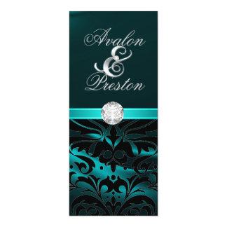"Teal Silk Diamond Black Damask Wedding Invitation 4"" X 9.25"" Invitation Card"