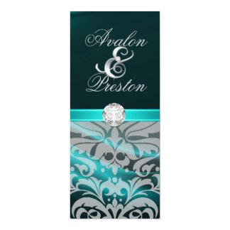 "Teal Silk Diamond Damask Wedding Invitation 4"" X 9.25"" Invitation Card"