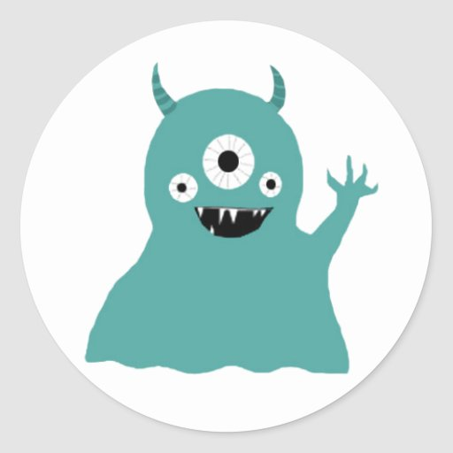 Teal Silly Monster Stickers
