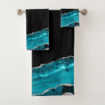 Teal & Silver Agate Bath Towel Set