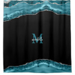 Teal & Silver Agate Personalized Monogram Shower Curtain
