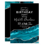Teal & Silver Agate Virtual Birthday  Invitation