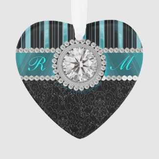 Teal , Silver and Black Diamond Monogram