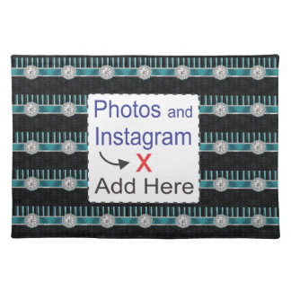 Teal , Silver and Black Diamond Monogram Cloth Placemat