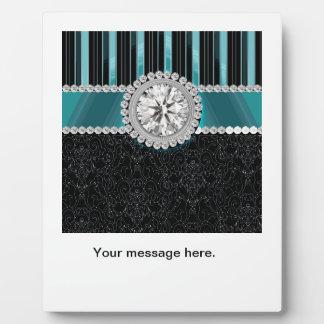 Teal , Silver and Black Diamond Monogram Plaque