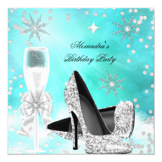 Teal Silver Champagne High Heels Birthday Invitation