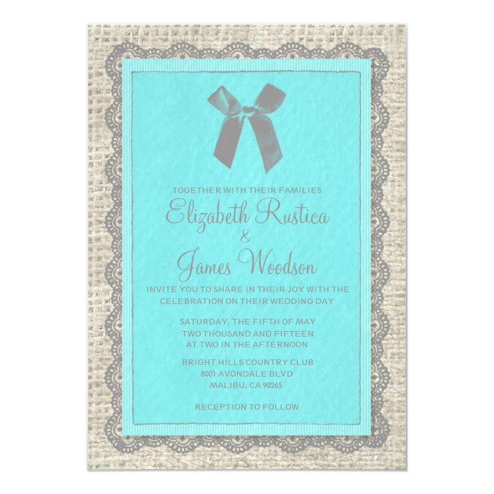 Teal & Silver Country Burlap Wedding Invitations