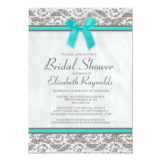 Teal Silver Country Lace Bridal Shower Invitations Custom Announcements