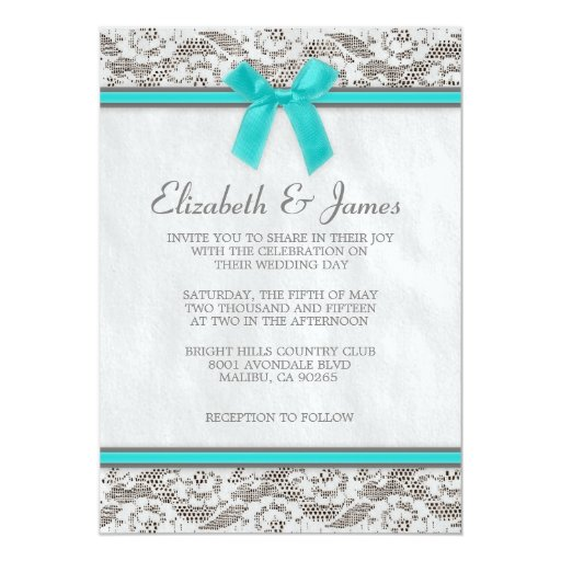 Teal & Silver Country Lace Wedding Invitations