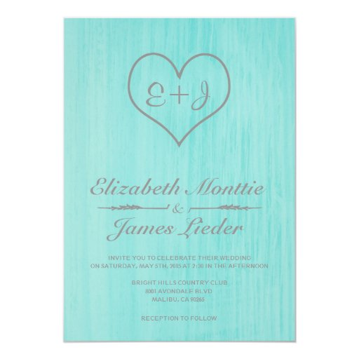 Teal & Silver Country Wedding Invitations