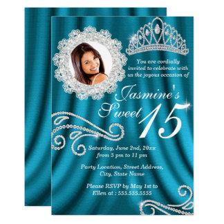 Teal Silver Diamond Tiara Photo Quinceanera Card