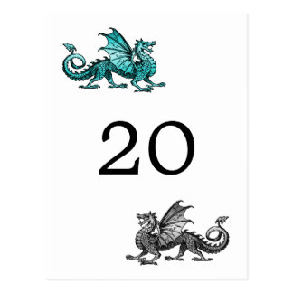 Teal Silver Dragon Table Number Postcard