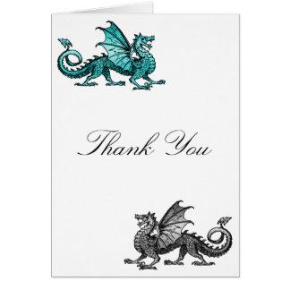 Teal Silver Dragon Thank You Card