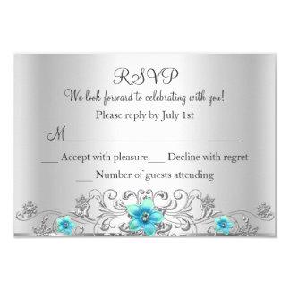 Teal Silver Floral Swirl RSVP Card
