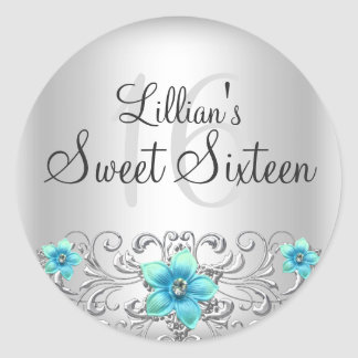 Teal Silver Floral Swirl Sweet 16 Sticker