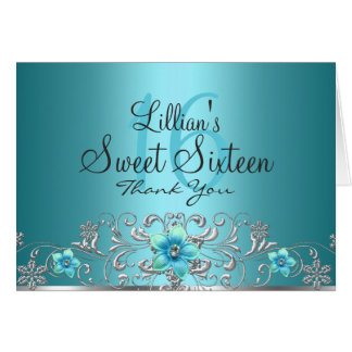 Teal Silver Floral Swirl Sweet 16 Thank You Card