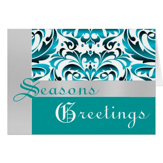 Teal & Silver Foil Damask Christmas Holiday Card
