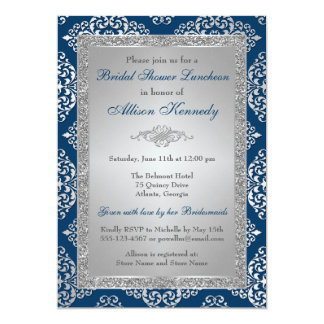 Teal, Silver Glitter Damask Bridal Shower Invite