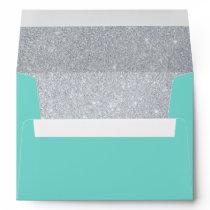 Teal & Silver Glitter Envelope