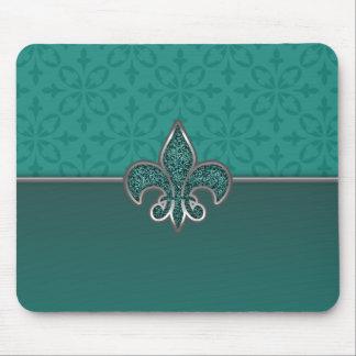 Teal Silver Glitter Fleur De Lis Mouse Pad
