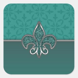 Teal Silver Glitter Fleur De Lis Square Sticker