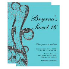 Teal Silver Glitter Swirl Sweet 16 Birthday Party Card