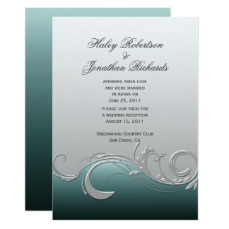 Teal Silver Ornate Swirls Post Wedding Invitation