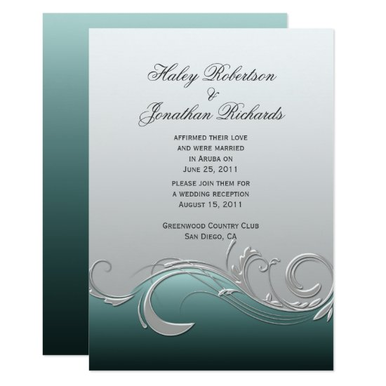 Teal Silver Ornate Swirls Post Wedding Invitation