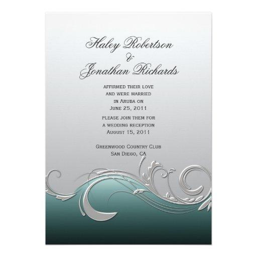 "Teal And Silver Wedding Invitations: Teal Silver Ornate Swirls Post Wedding 5"" X 7"" Invitation"