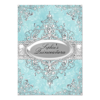 Teal & Silver Pearl Vintage Glamour Quinceanera Card