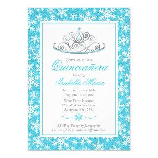 Teal Silver Princess Winter Wonderland Quinceanera Card