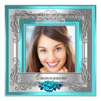 Teal Silver Roses Quinceanera 15th Photo Personalized Announcements