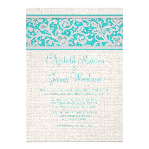 "Teal Silver Rustic Burlap Lace Wedding Invitations 5"" X 7"