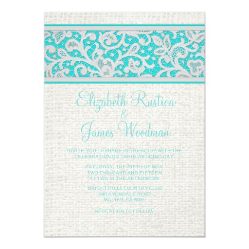 Teal Silver Rustic Burlap Lace Wedding Invitations