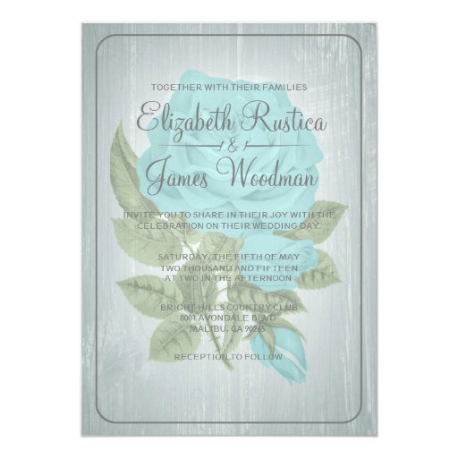 Teal And Silver Wedding Invitations: Teal & Silver Rustic Floral Wedding Invitations
