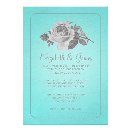 Teal & Silver Rustic Floral Wedding Invitations