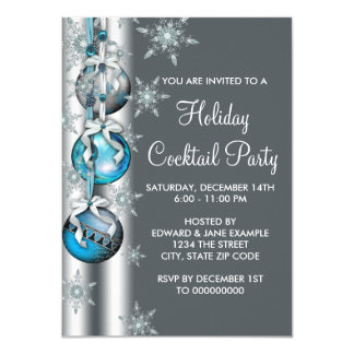 Teal Silver Snowflake Ornament Christmas Party Card