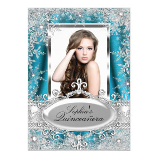 Teal Silver Sparkle Jewel Snowflake Quinceanera Card