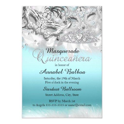 Teal Silver Sparkle Masquerade Quinceanera Invite | Zazzle