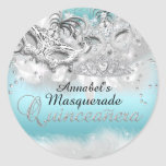 Teal Silver Sparkle Masquerade Quinceanera Sticker