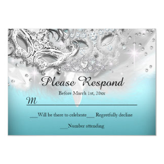 Teal & Silver Sparkle Masquerade RSVP Reply 4.5x6.25 Paper Invitation Card