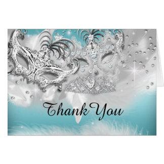 Teal & Silver Sparkle Masquerade Thank You Card