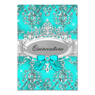 Teal Silver Tiara Damask Quinceanera Invite